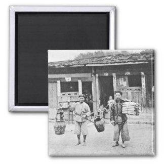 Chinesische Straßenverkäufer, c.1870 (b/w Foto) Quadratischer Magnet