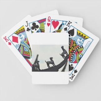 Chinesische Terrakotta-Hunde silhouettiert auf Bicycle Spielkarten