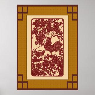 Chinesische Tierkreis-Hahn Papercut Szene Poster