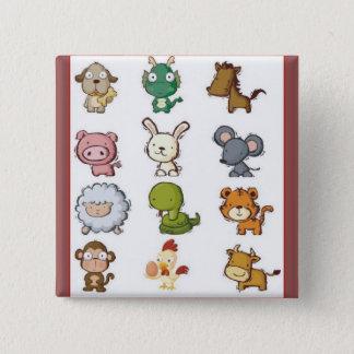 Chinesische Tierkreis-Tiere Quadratischer Button 5,1 Cm