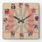 Chinesische Tierkreis-Uhr Quadratische Wanduhr
