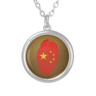 Chinesische Touchfingerabdruckflagge Halskette Mit Rundem Anhänger