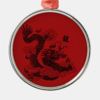 Chinesischer Drache Silbernes Ornament