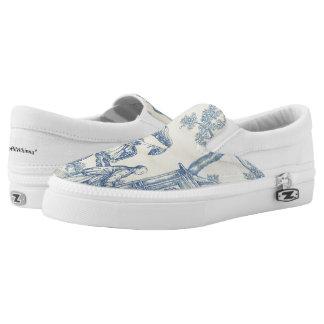 Chinesischer Garten blaues und weißes Toile Slip-On Sneaker