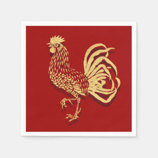 Chinesischer inspirierter Hahn auf Rot Papierserviette