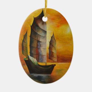 Chinesischer Kram Ovales Keramik Ornament