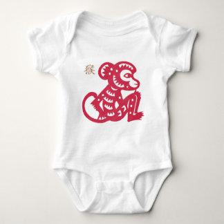 Chinesischer Tierkreis-Affe-Papier-Schnitt Baby Strampler