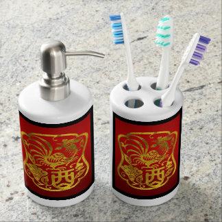 Chinesischer Tierkreis-Hahn Badezimmer-Set