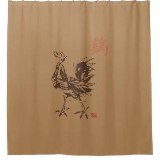 Chinesischer Tierkreis-Hahn Duschvorhang