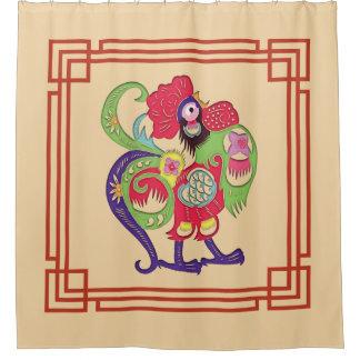 Chinesischer Tierkreis-Hahn Papercut Duschvorhang