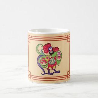 Chinesischer Tierkreis-Hahn Papercut Kaffeetasse