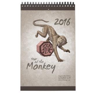 Chinesischer Tierkreis: Jahr des Affen 2016 Wandkalender