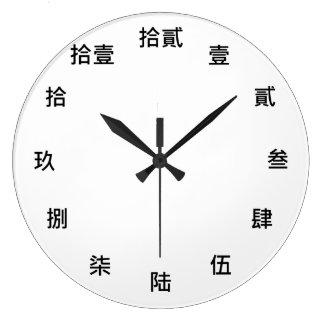 Chinesischer Zahlcharakter (schwarzer Schriftart) Große Wanduhr