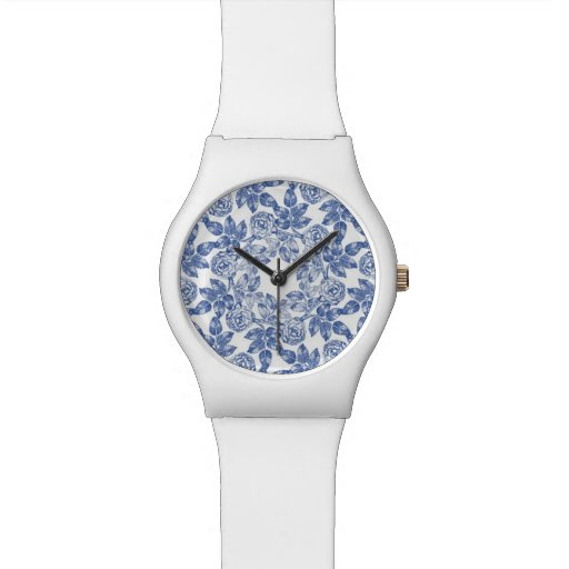 Chinesisches blaues Porzellan-Muster - RetroFlat Armbanduhr