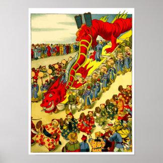 Chinesisches Drache-Festival-Vintages Kunst-Plakat Poster