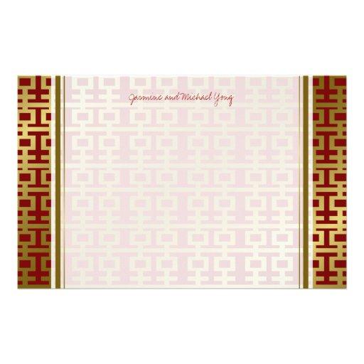 Chinesisches Hochzeits-Doppelt-Glück-Muster danken Büropapier