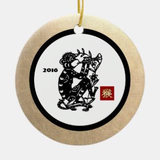 Chinesisches Jahr der Affe-Geschenk-Verzierungen Rundes Keramik Ornament