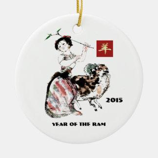 Chinesisches Jahr der RAM-Geschenk-Verzierungen Keramik Ornament