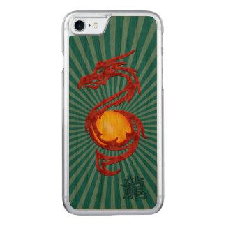 Chinesisches Jahr des Drache-metallischen Rotes Carved iPhone 8/7 Hülle