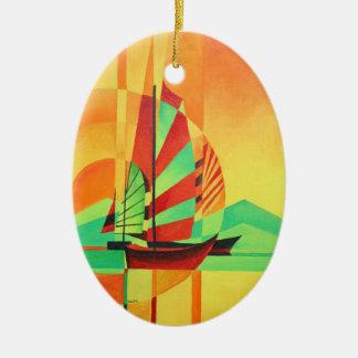 Chinesisches Kram-Segel zum unterzustützen Ovales Keramik Ornament