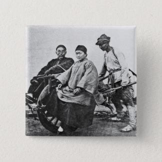 Chinesisches Rickshaw, c.1870 (b/w Foto) Quadratischer Button 5,1 Cm