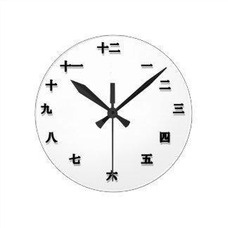 Chinesisches Schriftzeichen Clockface Runde Wanduhr