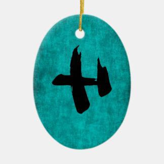 Chinesisches Schriftzeichen-Malerei für Krieger im Ovales Keramik Ornament