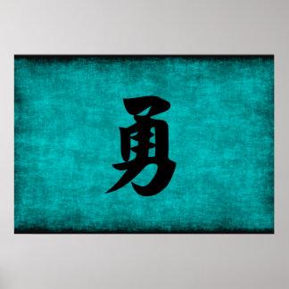 Chinesisches Schriftzeichen-Malerei für Mut im Poster
