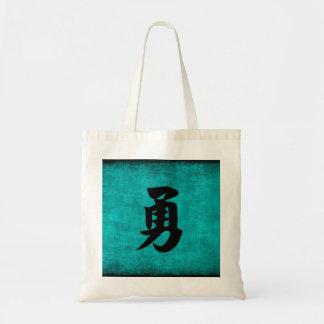 Chinesisches Schriftzeichen-Malerei für Mut im Tragetasche