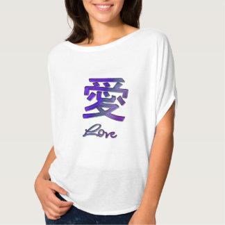 Chinesisches Symbol für Liebe in lila abstraktem T-Shirt