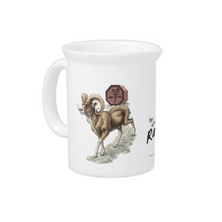 Chinesisches Tierkreis-Jahr der RAM-Kunst Getränke Pitcher