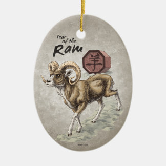 Chinesisches Tierkreis-Jahr der RAM-Kunst Keramik Ornament