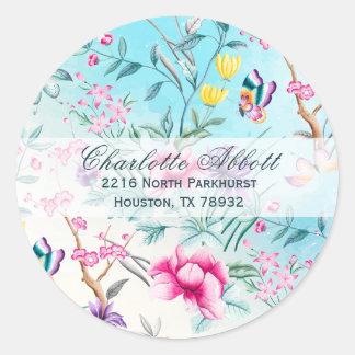 Chinoiserie-Blumenmuster-Adressen-Umschlag Runder Aufkleber