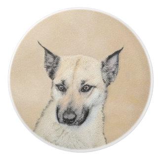 Chinook (spitze Ohren) malend - ursprüngliche Keramikknauf