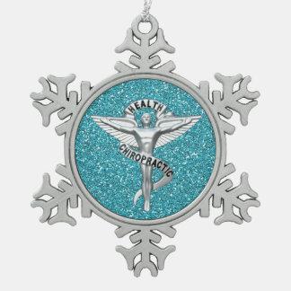 Chiropraktik-Emblem-Zinn-Schneeflocke-Verzierung Schneeflocken Zinn-Ornament