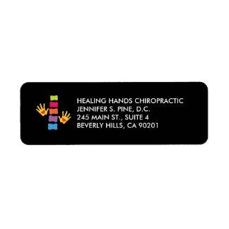 Chiropraktik-Hände und Dorn-Logo Avery Aufkleber Rücksendeetiketten