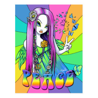 Chloe Friedenshippie-Regenbogen-Fee-Postkarte Postkarte