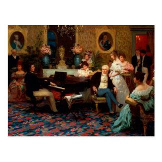 Chopin, der das Klavier spielt Postkarte