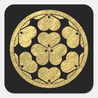 Chosokabe Montag japanischer Samuraiclan Quadratischer Aufkleber
