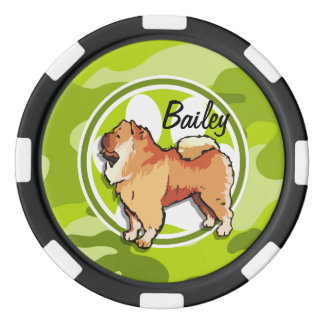 Chow-Chow; hellgrüne Camouflage, Tarnung Poker Chip Sets