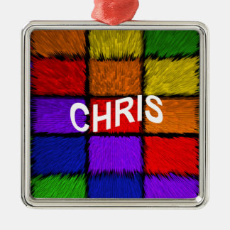 CHRIS QUADRATISCHES SILBERFARBENES ORNAMENT