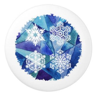 Chrismas Dekor, Wasserfarbmalerei, Eiskristalle, d Keramikknauf