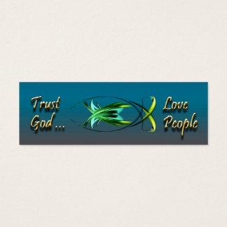 Christliche Fisch-Symbol-Hintergrund-Karte Mini Visitenkarte