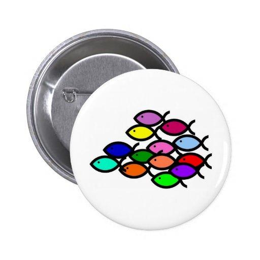 Christliche Fisch-Symbole - Regenbogen-Schule - Anstecknadelbuttons