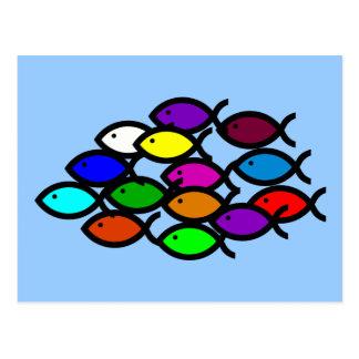 Christliche Fisch-Symbole - Regenbogen-Schule - Postkarte