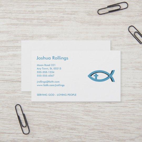 Christliche Fische Mit Anteil Des Kreuz Ihr Visitenkarte