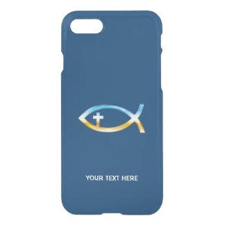 Christliche Fische mit Quersymbolblauhintergrund iPhone 8/7 Hülle