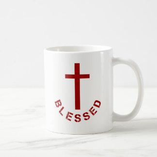 Christliche gesegnete rotes Kreuz-Typografie Kaffeetasse