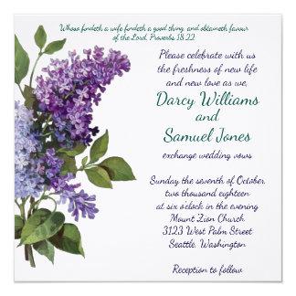 Christliche Hochzeits-Einladung - Vintage Fliedern Karte