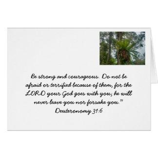 Christliche Karte mit einem Bibelvers über Mut